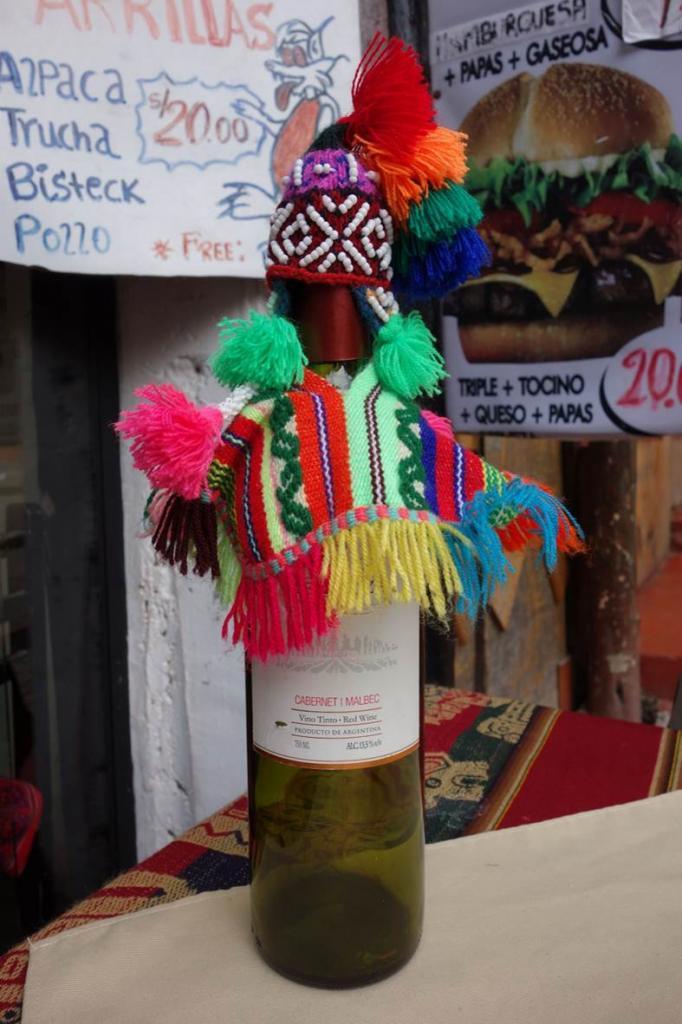 Cache bouteille péruvien
